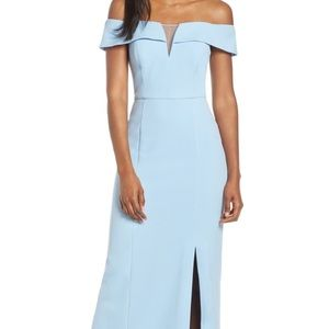 Vince Camuto Light Blue Formal Crepe Gown